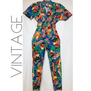 VTG Carol Anderson tropical print jumpsuit 10 L